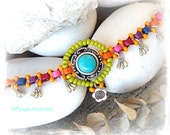 DROP Charm ANKLE Bracelet Turquoise Colorful beaded Anklet Tribal Native Boho foot jewelry Ibiza summer party bare feet resort spa GPyoga
