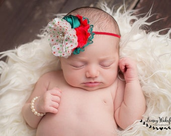 Like Christmas Morning red, white and green polka dot chiffon flower headband