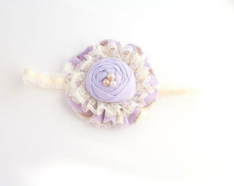 Country Porch View- lavender brown ivory ruffle and rosette headband bow with lace