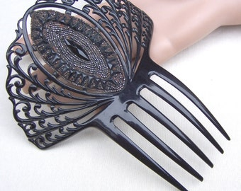 Victorian mourning hair comb black comb Spanish mantilla comb hair jewelry headdress headpiece hair ornament