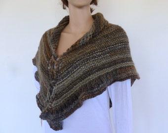 Brown knit Shawl  Hand knit shawl  Brown Cape  Brown Chunky knit shawl  Earthy colours knit shawl