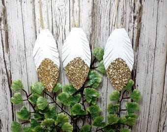 Set of White Leather Feather Ornaments With Gold Glitter Tips - Christmas - Yule