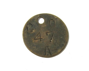 Brass Tool Tag VINTAGE Number CO 47A One (1) Bethlehem Steel Co Scrapbook Altered Art Assemblage Mixed Media Jewelry Supplies Tag (L139)
