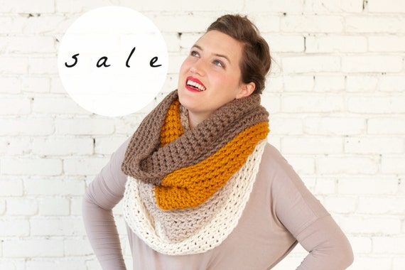 SALE | LAST CHANCE! | The Ombré Cowl in Ginger | Chunky Knit Ombré Oversized Huge Textured Winter Cowl Scarf