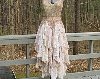 Cafe au lait/mocha/blush tones tattered alternative bride boho bohemian hippie gypsy wedding dress, 40 inch bust, Size 14-16, Large