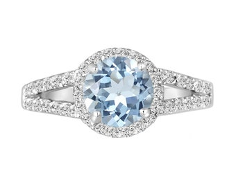 Platinum Aquamarine Engagement Ring 2.12 Carat Handmade Halo Pave Birthstone Certified