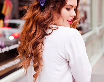 Silver Blue Velvet Hair Bow