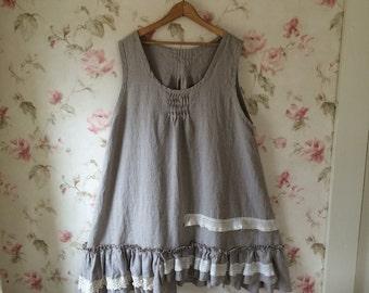 Washed Natural Linen Dress Vintage Lace Pintucks Ruffles Sleeveless  Slip Dress Pinafore Prairie Lagenlook