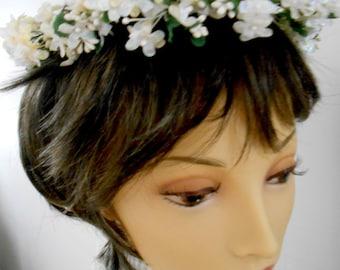 Vintage Style Brides Retro Wedding Floral Wreath Headpiece OOAK