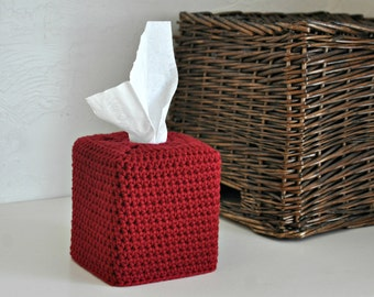Modern Square Tissue Box Cover Nursery Decoration Red Home Decor Kleenex Box Cover Custom Colors