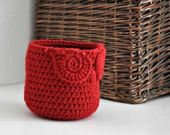Small Red Owl Basket Crocheted Bin Yarn Holder Woodland Nursery Decor Home Organizer Custom Colors
