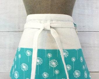 Teal Half Apron With Pockets -  Dandelions - Teal Green - Teacher Apron - Gardener - Vendor - Waitress