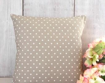 Tan Pillow Cover - Ecru Mini Stars Throw Pillow Cover - Tan Star Pillow - Cottage - Farmhouse - Boys Room