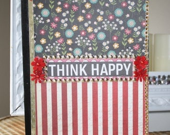 Think Happy Embellished Journal Notebook Diary by My Cozy Cottage Designs