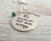She Soars on Her Own Wings, Flies with Own Wings Necklace, Hand Stamped, Inspirational, Graduation Gift, Sterling Silver