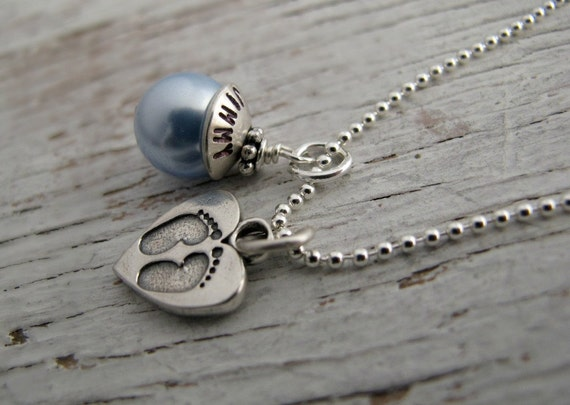 New Mom Necklace, Push Present, Personalized, Mother's Day Gift, Baby Footprints, Hand Stamped, Sterling Silver