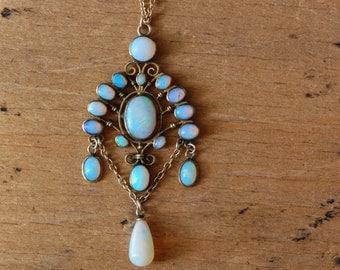 Antique 1910s 10K opal lavalier ∙ Edwardian opal festoon lavalier