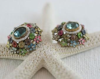 Vintage Czechoslovakian Fruit Salad Rhinestone Pastel Enamel Floral Screw Back Style Earrings  .....3478