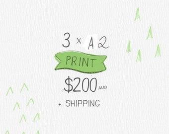 3 x A2 or 40x50 cmArt Print Children's Art Print