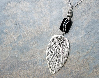 Wire Wrapped Necklace, Leaf Necklace, Black Onyx Necklace, Fall Necklace, Autumn Necklace, Natural Stone Necklace, Handmade Necklace