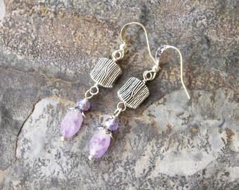 Dangly Amethyst Earrings, Lavender Earrings, Gemstone Earrings, Purple Earrings, Natural Stone Earrings, Handmade Earrings, Pastel Earrings