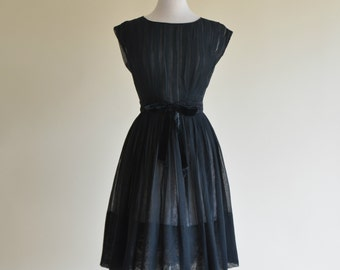 Vintage 1960s Cocktail Dress...R&K Original Sheer Black Cocktail Dress Party Dress