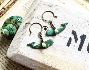 Of the Deep, Aqua Hand Aged Verdigris Patina Brass Whales & Genuine Freshwater Pearl,Sea Foam,Beach Inspired Earrings by Hollywood Hillbilly