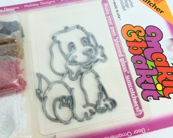Puppy Dog Makit & Bakit Stained Glass Sun Catcher Kit NOS