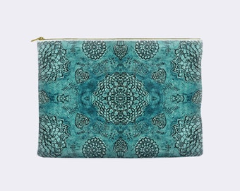 Boho zippered pouch, teal pencil case, toiletry bag, bohemian cosmetic pouch, makeup bag, large cosmetic bag, small clutch, teal lace print