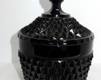 Black Milk Glass Canister Lidded Cookie Jar Home and Garden Kitchen and Dining Food Storage Cookie Jars