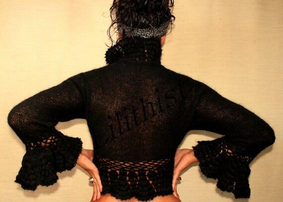 Black Shrug, Knit Bolero Crochet Cardigan Sweater, Winter Wedding Cover Up, Wedding Bridal Shrug, Fashion, Long Sleeve Evening Shrug / SALE