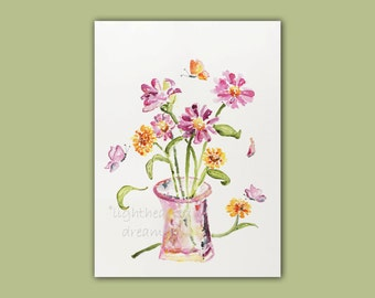 SALE, Watercolor Painting, Flower Wall Art,  Ready to Ship, Original Painting, Birthday Gift, Butterfly Art, Watercolor flowers, lavender