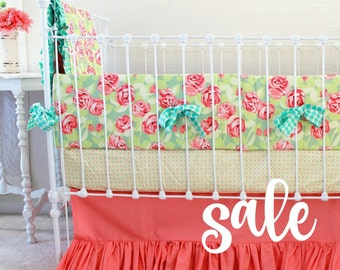 SALE * Coral Baby Girl Bedding-  Tumbling Roses & Ruffles Crib Set Ready To Ship
