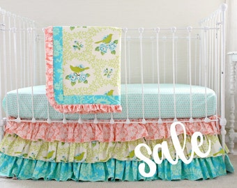 sale baby girl crib bedding ruffle baby bedding bumperless nursery bedding with rose floral