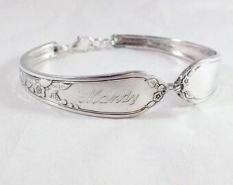 Spoon Bracelet, FREE ENGRAVING,  Bridesmaid Bracelet, Bridesmaid Gift, Personalized Silver Vintage  Silverware Jewelry CAMILLE 1937