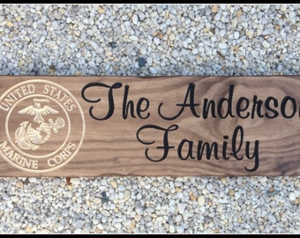Custom Wood Signs, Carved Wood Signs, Last Name Signs, Wood Name Signs, Military Signs, Family Name Signs, Marine Wife, Custom Signs