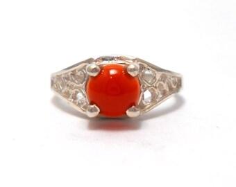 Carnelian Genuine Upcycled Gemstone Sterling Silver Ring