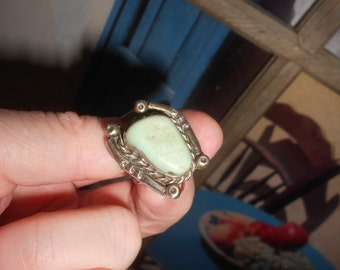 "Peyote Turquoise Statement Ring Navajo ""Dry Creek"" Mined Beauty Sterling Tribal Dead Pawn 40s Vintage Sz 6-1/2 Native American"