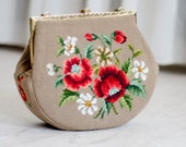 1950s Needlepoint Purse - 50s Carpet Bag - Napolitana Handbag
