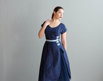 1950s Party Dress - Vintage 50s Fit an Flare Dress - Melancholy Dress