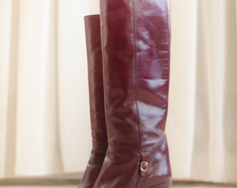 Vintage 1970s Leather Boots - Oxblood 70s Boots - Storyteller Boots