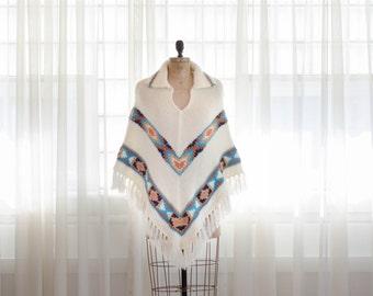 70s Poncho - Vintage 1970s Cape - Tempe Knit Poncho
