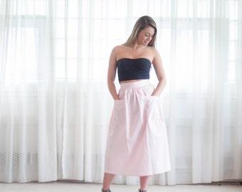 Vintage 50s Skirt - Pink 50s Skirt - Bubble Gum Midi Skirt