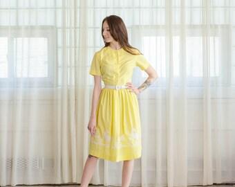 50s Novelty Print - Vintage 1950s Yellow Dress - Proud Peacock Dress