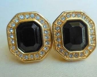 VINTAGE Swarovski BLACK and GOLD Crystal Earrings Signed