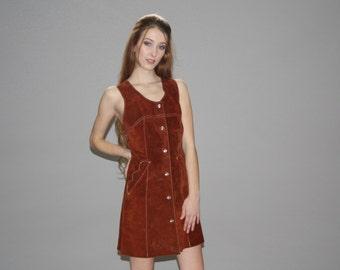 Vintage  1960s Full Suede Hippie Dress - Vintage 60s Suede Dress -   60s Hippie Dresses  - WD0626