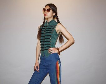 1980s Vintage Hippie Green Suede Military Marching Band Boho Festival Vest   - Vintage Suede Vests   -  WO0637