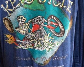 "Men's Denim Shirt With Keys Cycle ""Cruising The Keys"" Logo On it Islamorada-Key West Florida Keys"