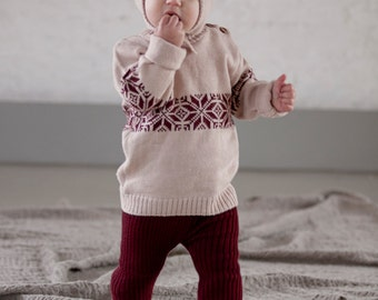 Baby leggings Toddler leggings Baby girl leggings Baby girl leggings Knit Pants Baby clothes Dark red