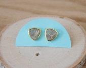Pale Blue Grey Triangle Sea Sediment Bezel Stud Earrings/ Gold Stud Post Earrings Natural Pale Grey Blue/ Sea Sediment Stone (GSL11-PB)